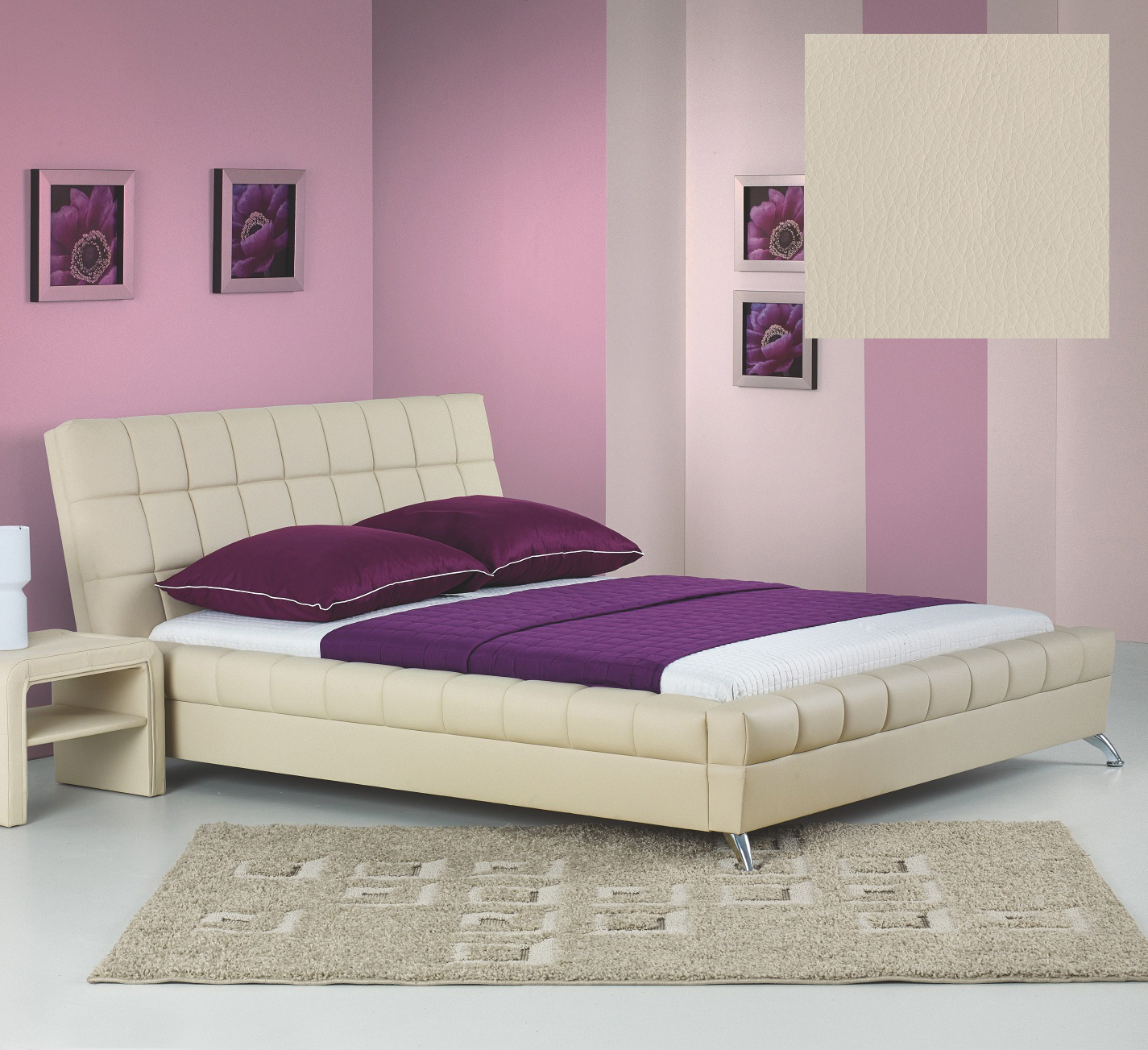 Hilda sängram och Huvudgavel Beige Eco Läder 4995 kr Trendrum se