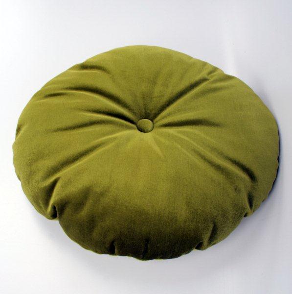 Kudde rund med knapp Grön sammet 229 kr Trendrum se