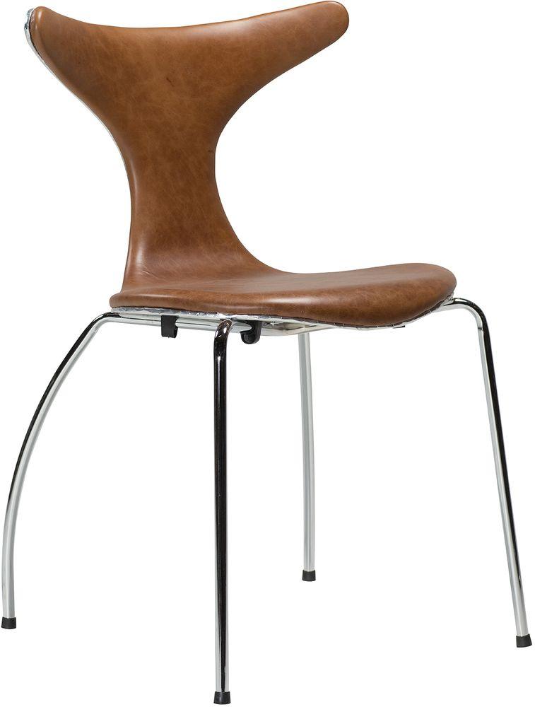 Dolphin stol Ljusbrun läder Krom Aluminium 2995 kr Trendrum se