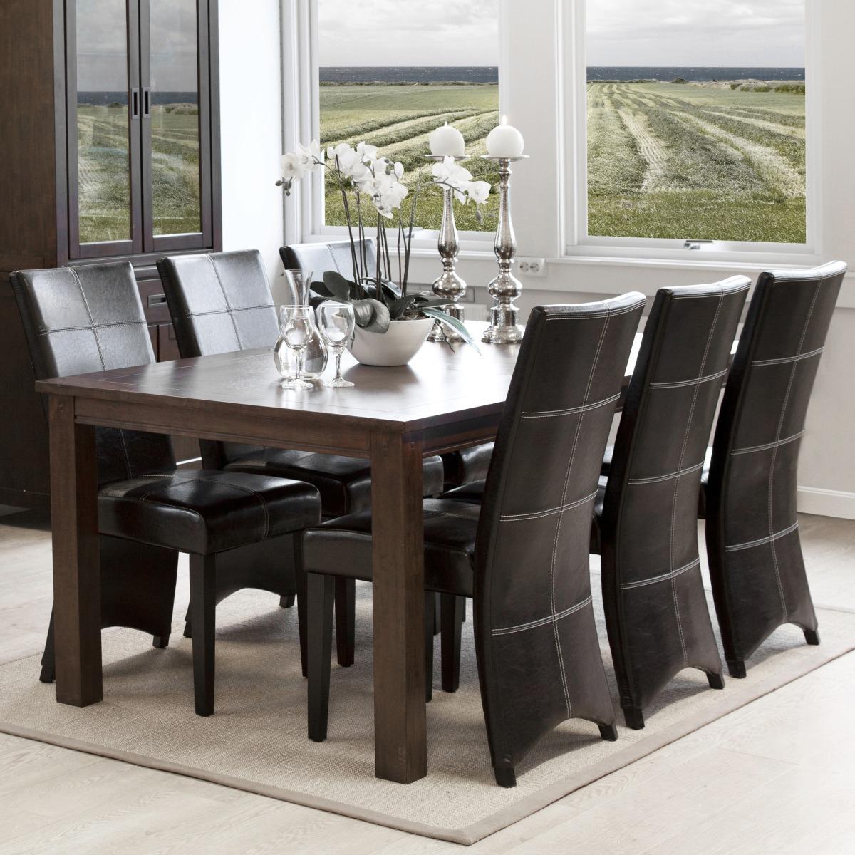 Matgrupp Mekka matbord med 1 klaff 50 cm Mörk valnöt + 6 x Kire stol Svart konstläder med
