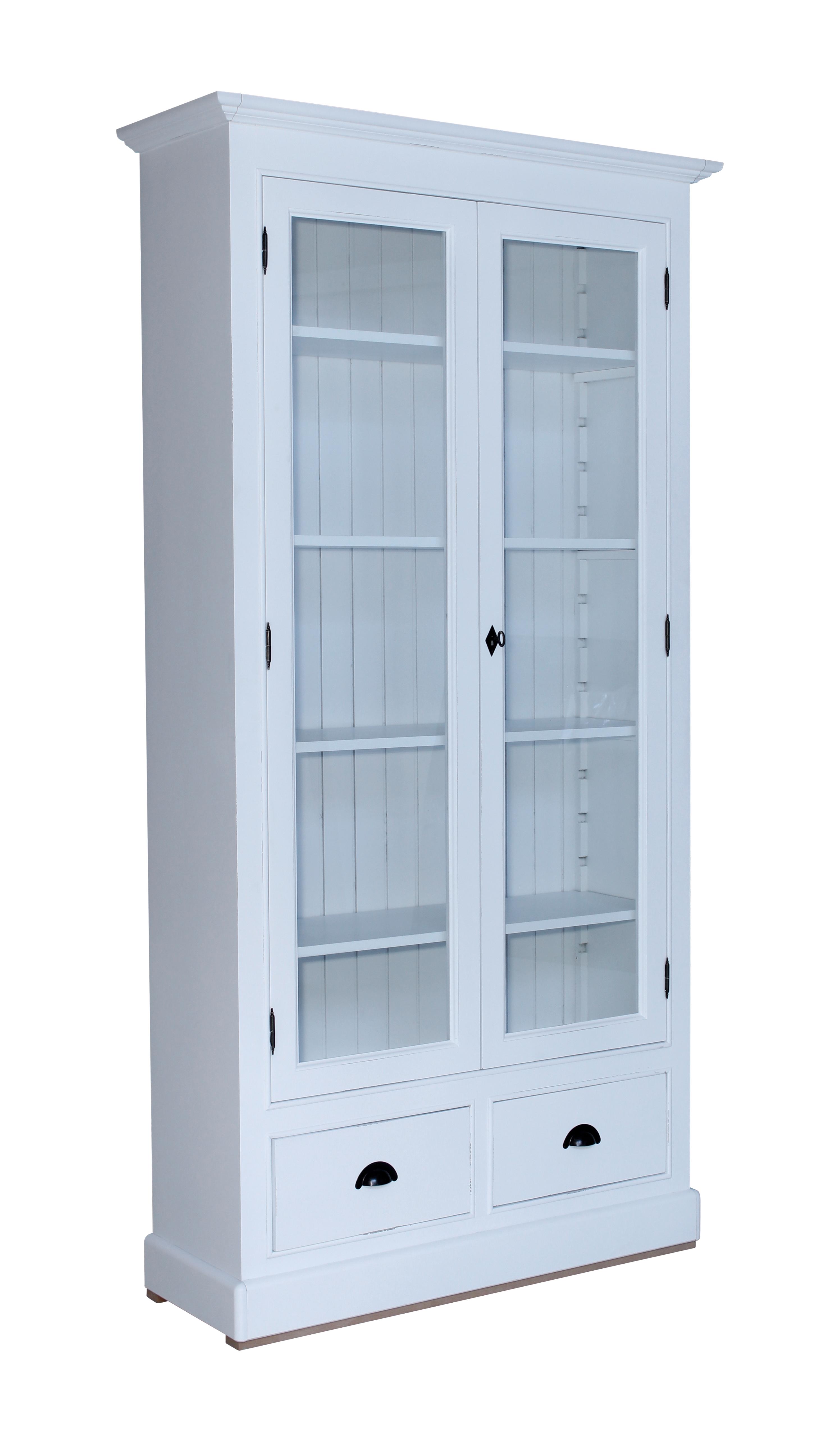 Isabell bokskåp med glasdörrar Antik Vit 6695 kr Trendrum se