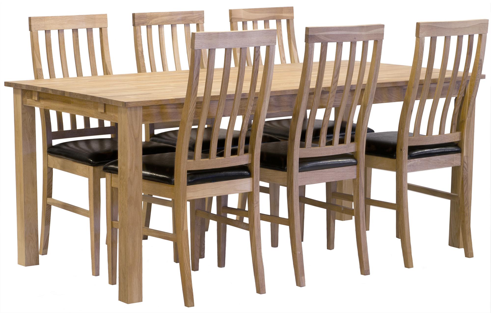 Matgrupp: Ekehof matbord oljad ek 180 cm + 6 st Lilian