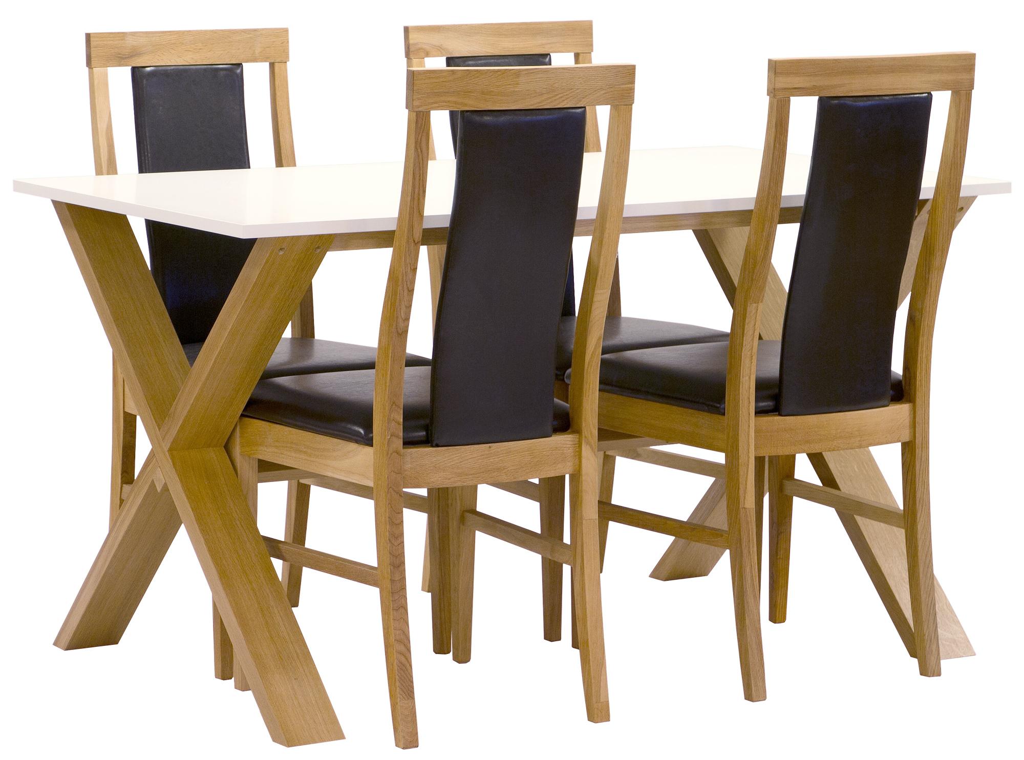 Matgrupp NordiForm Artic matbord 140 ek vit + 4 st Lilian ek pu med klädd rygg 4995 kr