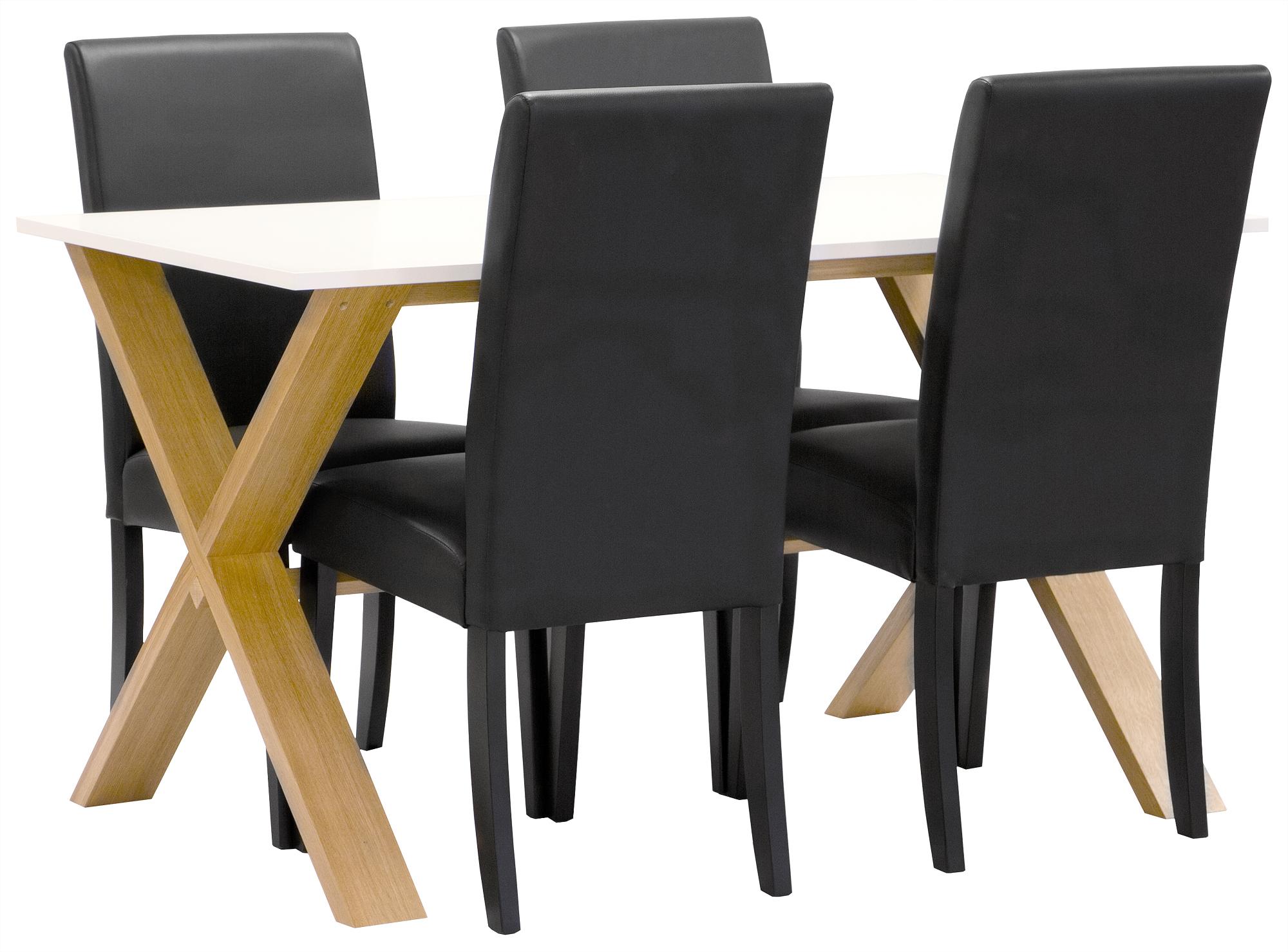 Matgrupp NordiForm Artic matbord 140 ek vit + 4 st Mazzin svart svart 5395 kr Trendrum se