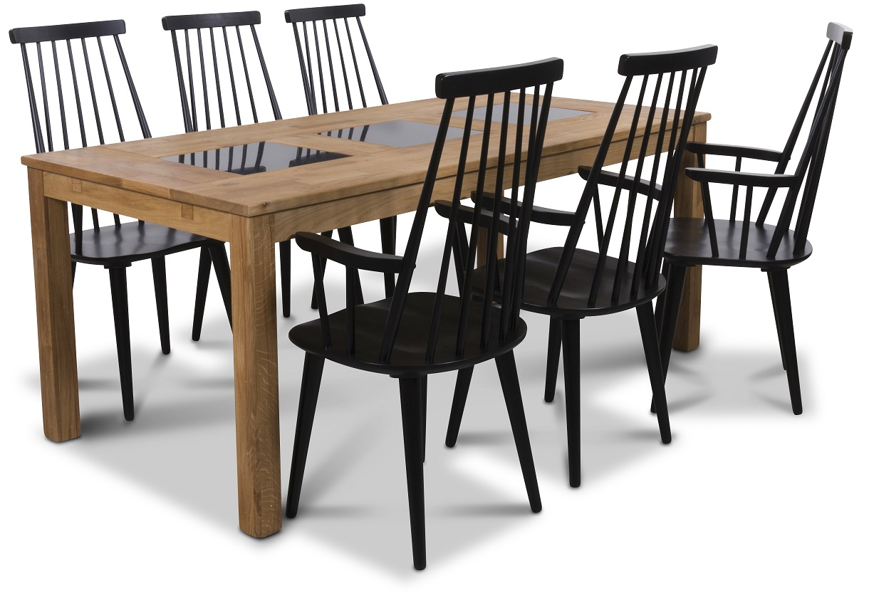 Jasmine matgrupp med bord och 6 st svarta Dalsland med stolar med armstöd Oljad ek Granit