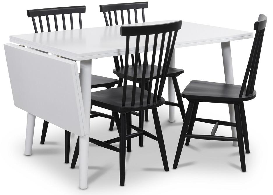 Dalsland matgrupp, Bord med klaff och 4 st svarta Karl pinnstolar 4290 kr Trendrum se