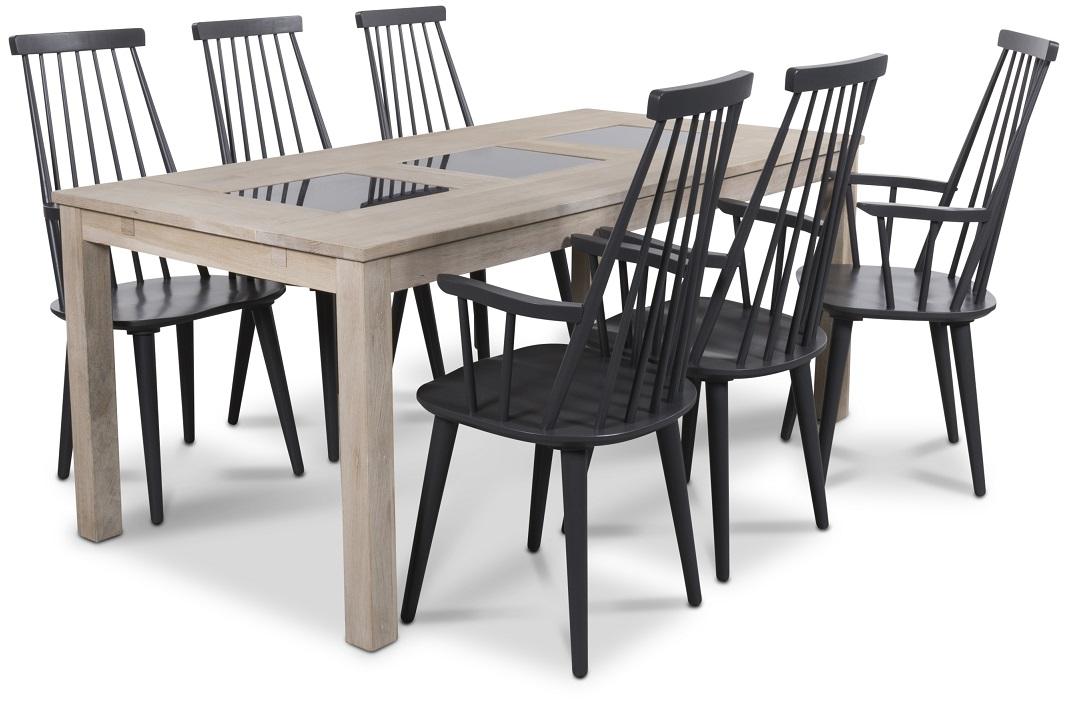 Jasmine matgrupp med bord i whitewash och 6 st grå Dalsland
