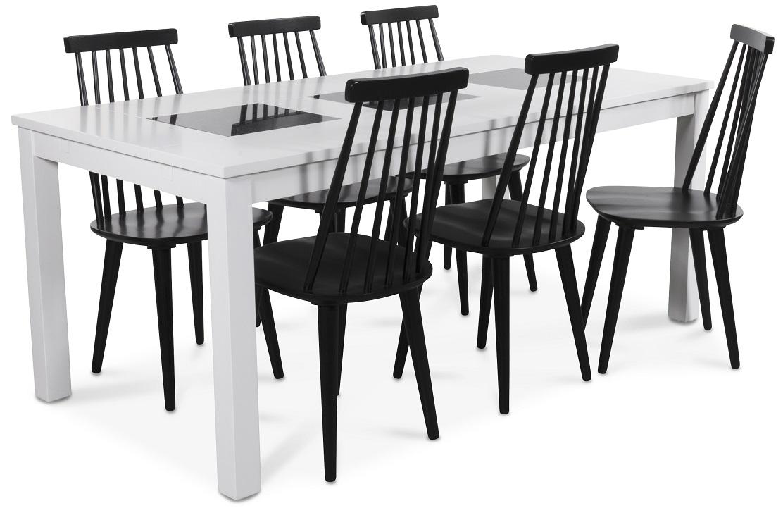 Jasmine matgrupp med vitlackat bord och 6 st svarta Dalsland