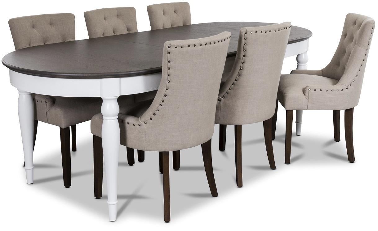 Hampstead matgrupp, bord med 6 st Tuva stolar i beige tyg