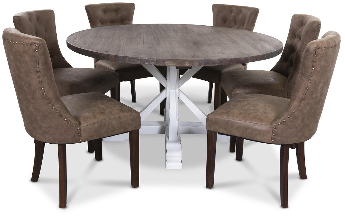 Colorado matgrupp, Runt matbord 150 cm iåtervunnet trä vita ben med 6 st Tuva Adele matstolar i