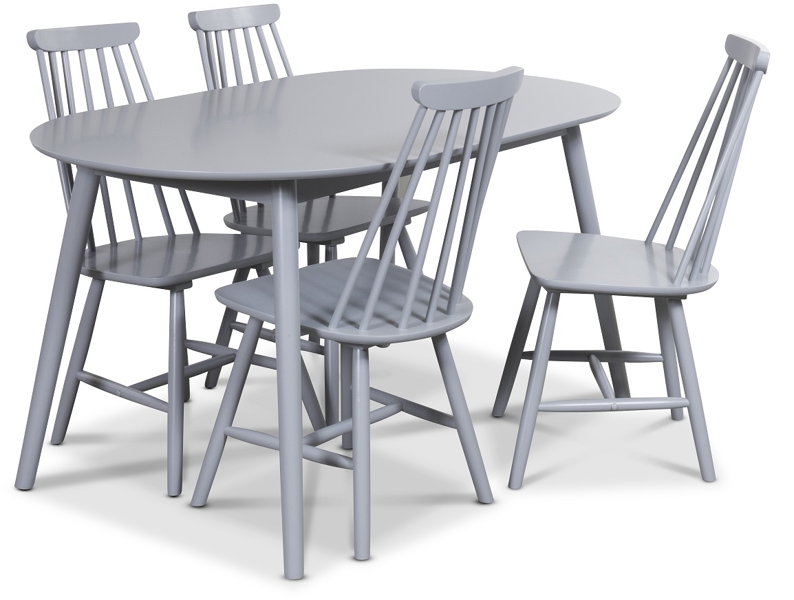 Göteborg Matgrupp Ovalt Bord med 4 st grå pinnstolar 4490 kr Trendrum se