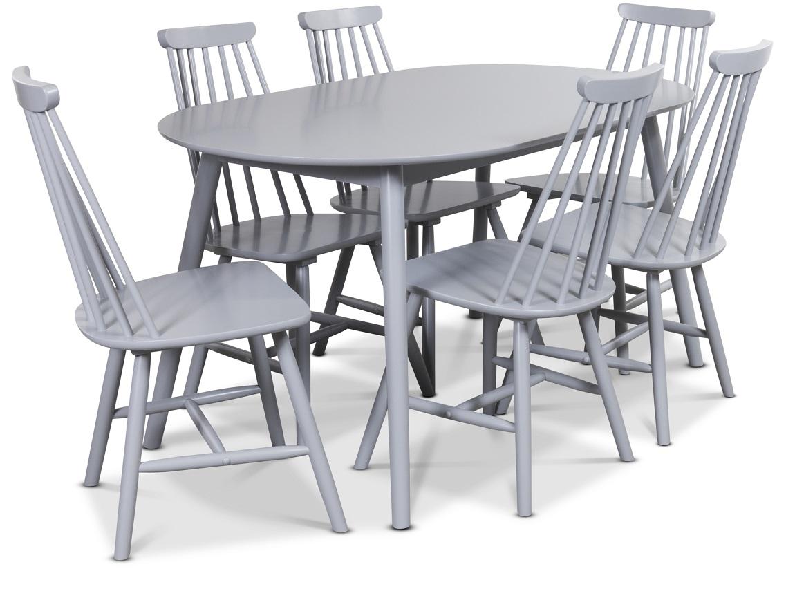 Göteborg Matgrupp Ovalt matbord med 6 st gråa pinnstolar 5490 kr Trendrum se