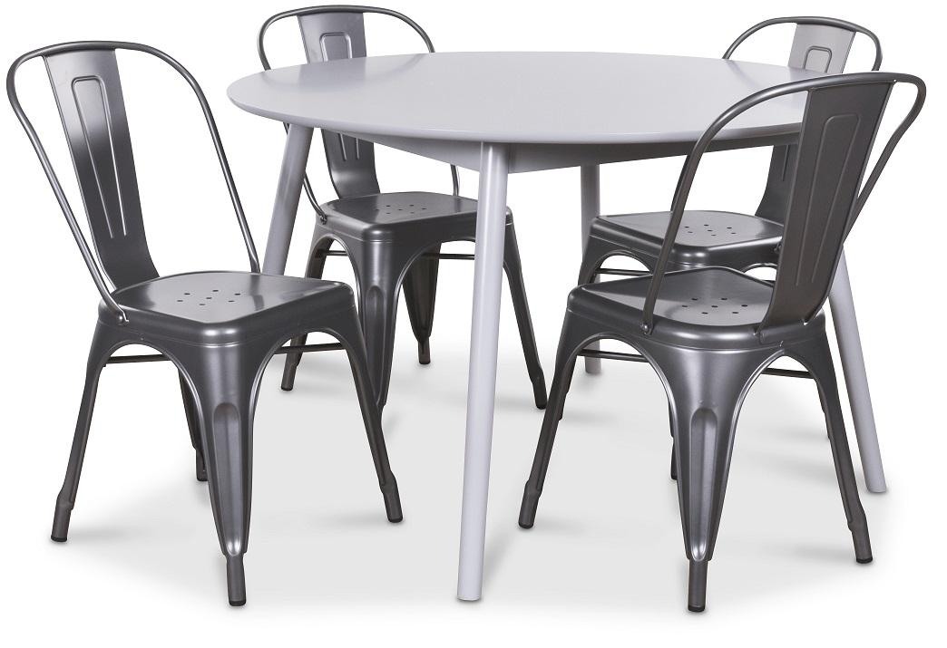 Göteborg matgrupp grått runt bord med 4 st Industry Plåtstolar Grå Metall 3490 kr