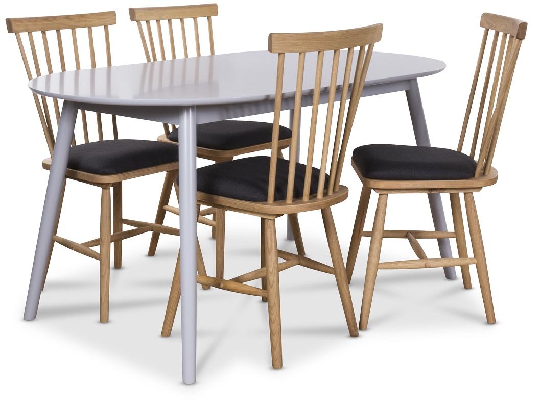 Göteborg matgrupp grått ovalt bord med 4 st Småland Pinnstolar Grå Ek 5495 kr Trendrum se