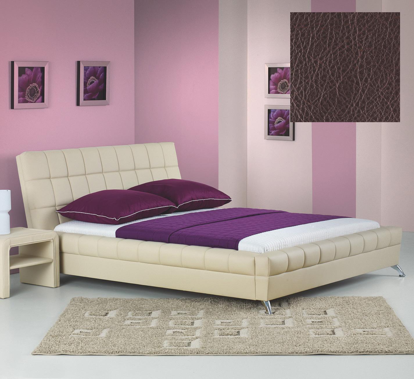Hilda sängram och Huvudgavel Mörk Brunt Eco läder 4995 kr Trendrum se
