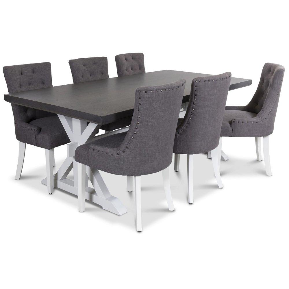 Icke gamla Ventos matgrupp inklusive 6 st Tuva stolar i grått tyg - 10990 kr QE-83