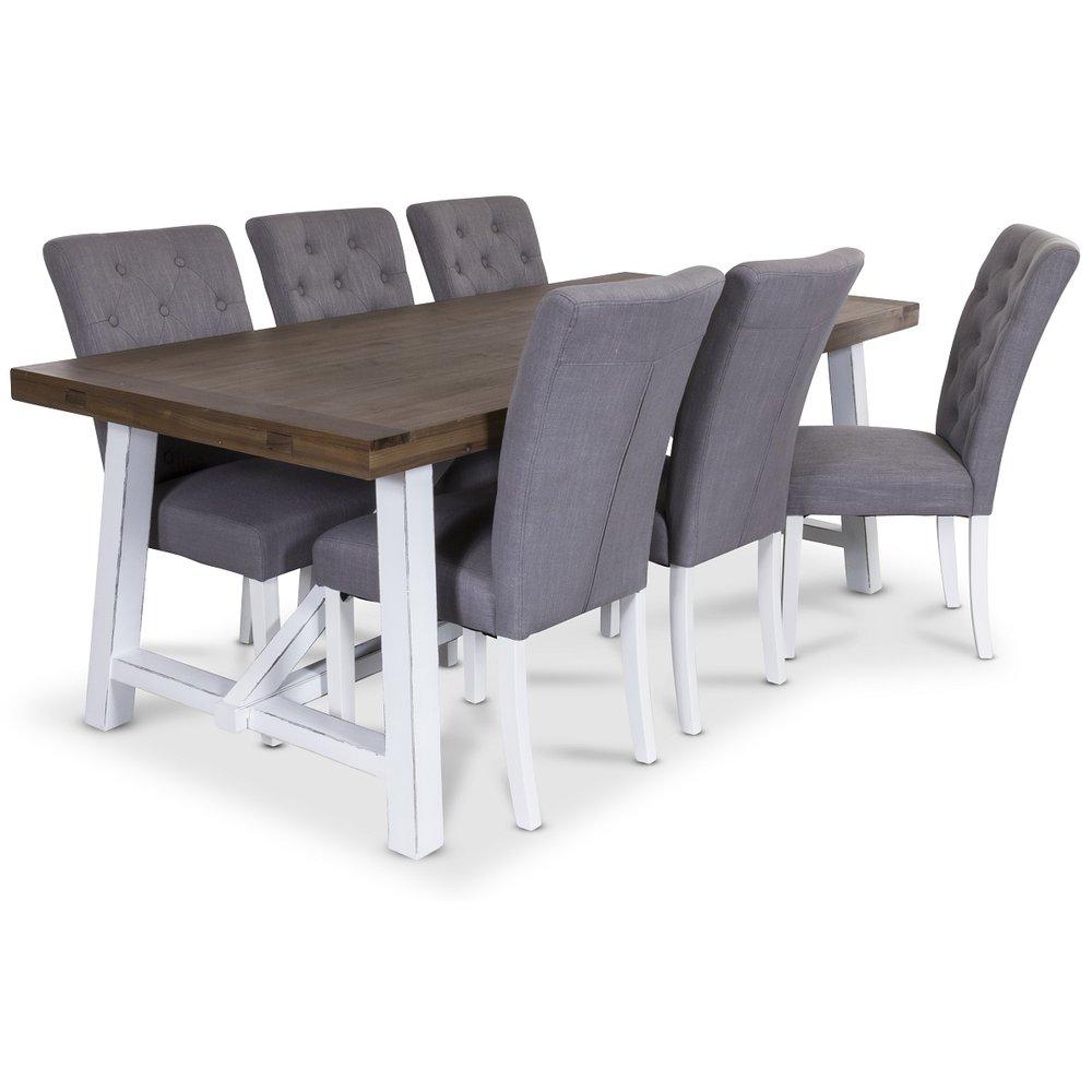 Colorado matgrupp, 200cm bruntvitt bord med 6 st Oliva