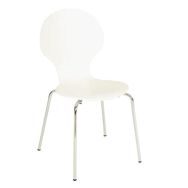 vit stol med metallben