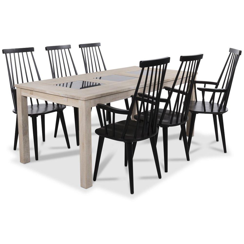 Jasmine matgrupp med bord i whitewash och 6 st svarta