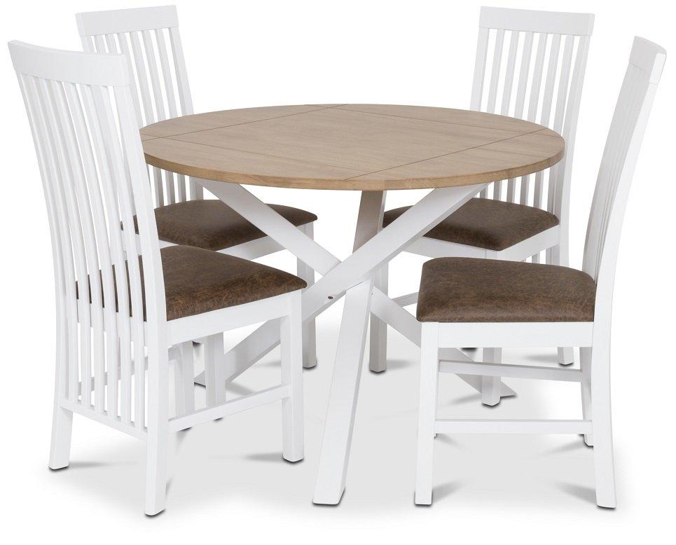 Modernistisk Skagen matgrupp - Runt bord inklusive 4 st Herrgård Vindö stolar FD-93